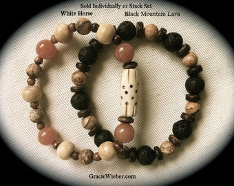 Men's Tribal Bracelet Yoga Stacking Bracelet Jasper Aventurine Gemstone Bracelet Mens Mala Boho Bracelet Bohemian Beaded Stretch Bracelet