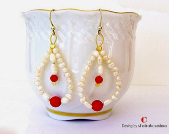 Real Freshwater Pearl Earrings, Red Corals Earrings, Pearls and Corals Earrings, Sterling Silver Ear Wires, White and Red Earrings