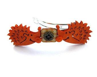 Hedgehog  Button Barrette FREE US Shipping