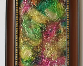 "Original hand painted alcohol ink modern abstract decorative on 4x6"" aluminum foil in frame. ""Foiled"""
