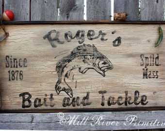 Personalized Primitive Wooden BAIT and TACKLE FISHING Sign ~ Father's Day