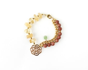 Yellow Citrine Bracelet with Brown Gold Sandstone and Big Rose Charm Pendant, Clover Swarovski Crystal, High Fashion Jewelry