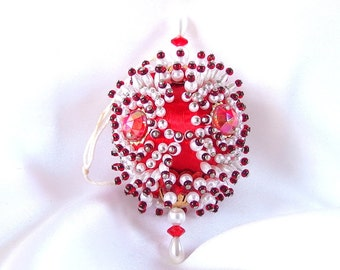 Vintage Victorian Red Satin Christmas Holiday Ornament, Beaded and Blinged Oval Ornament