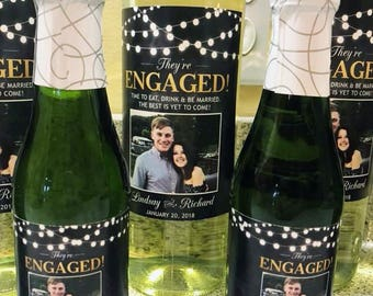 Rustic Chalkboard String Light Engagement Wine Label with Picture // Newly Engaged Couple Gift // Engagement Gift // Congratulations