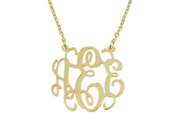 Monogram pendants etsy monogram pendantpersonalized monogram necklace925 sterling silver plated 18kgoldinitials necklace aloadofball Choice Image