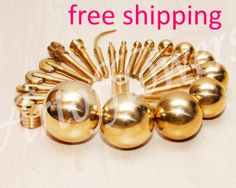 21 Millinery Fabric Flower Making Tools High Quality Brass set incl super large balls 45, 50 mm,soldering iron+Video 45min+Books in English
