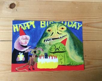 Rotta The Hutt Birthday Postcard by Wilm Lindenblatt featuring Jabba and Friends. Star Wars Fan Art!