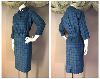 50s dress 1950s vintage BLUE GREEN PLAID Jonathan Logan wool tartan hourglass chic dress