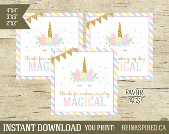 Unicorn Favor Tag, Unicorn Party, Unicorn Thank You, Thank You Tags, Unicorn Birthday, Unicorn Tags, Personalized, DIGITAL FILE, KAD