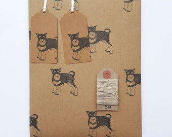 Schnauzer Wrapping Paper Set (Essentials Option): 1 Sheet Kraft Gift Wrap with Cute Dogs, 2 Gift Tags, 5m Hemp Twine.