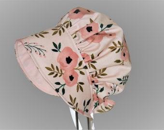 Spring And Summer Bonnet, Baby Bonnet, Sun Hat, Watercolor Blush Rose Baby Girl Bonnet, Toddler Hat, Baby Sun Bonnet, Newborn Bonnet, Cotton