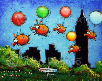 Flying Pigs, When Pigs Fly, Family Outing of Pig Family on New York City Adventure Floating on Balloons by John Donato, Great Gift Idea
