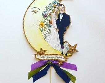 Custom Wedding Cake Topper - Custom Illustrated - Hand Painted - Personalized