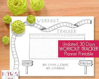 Printable Workout Tracker • Planner Inserts • Fitness Planner • Workout Planner • Workout Journal • Fitness Exercise Sports • Fitness Log