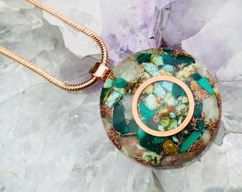 Orgonite® Orgone Pendant (Medium) - Turquoise/Prehnite/Malachite - FREE WORLDWIDE SHIPPING!