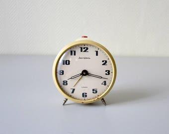 Vintage Mechanical Clock JANTAR 4 jewels / USSR 60s