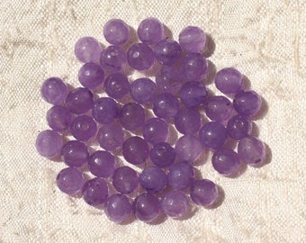 20pc - beads - faceted balls 6mm purple Jade - stone 4558550018847
