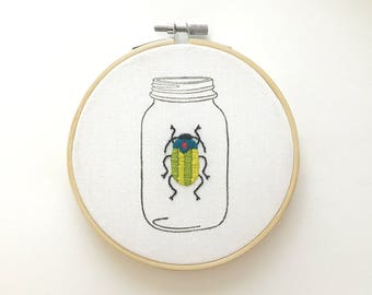 Beetle in Jar : Blue & Green // MADE TO ORDER!