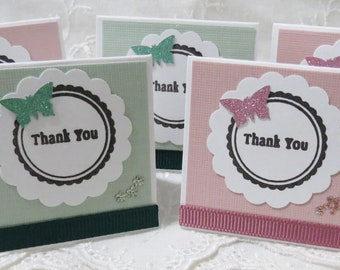 Pink and Green Handmade Mini Thank You Cards with Butterflies and Flower Set of 40