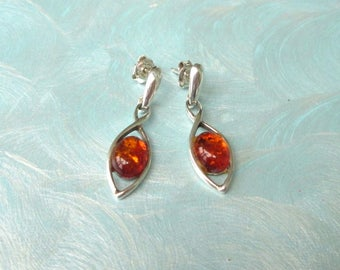 Amber pierced earrings, amber ear plugs sterling silver, vintage Stud, 925 silver, jewelry, amber jewelry