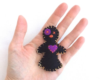 Voodoo Doll Fridge Magnet - Black Voodoo Doll - Small Fridge Magnet - Pin Cushion - Valentine Gift - Wedding Favour - Macabre - Gothic