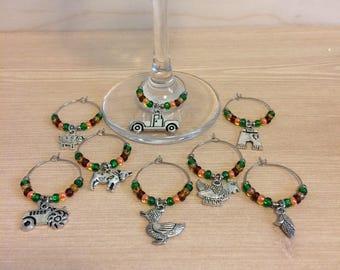 Farm wine glass charms - farm life wine glass charms - farmgirl wine glass charms - hostess gift - gift for her