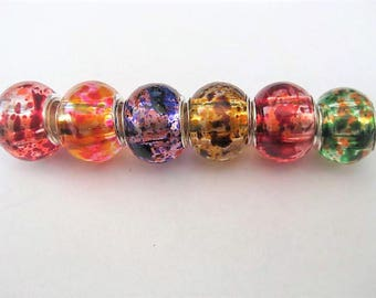 Jewelry Supplies ~  Glass Lampwork   Set/6  Spacer Beads    14x10mm   'Mosaic-2'