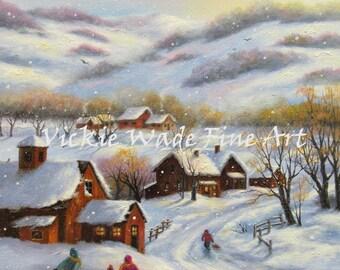 Snow Painting ORIGINAL 18X24, children playing in snow, snow landscape, winter landscape, winter village, children, snowman, Vickie Wade Art