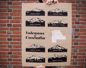 Volcanos of Cascadia Poster
