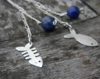 Lapiz Lazuli beads, Sterling Silver dangle fish earrings, fish, stop BO original, customizable