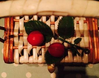 1950s Basket Weave Cherry Box Bag Fabulos