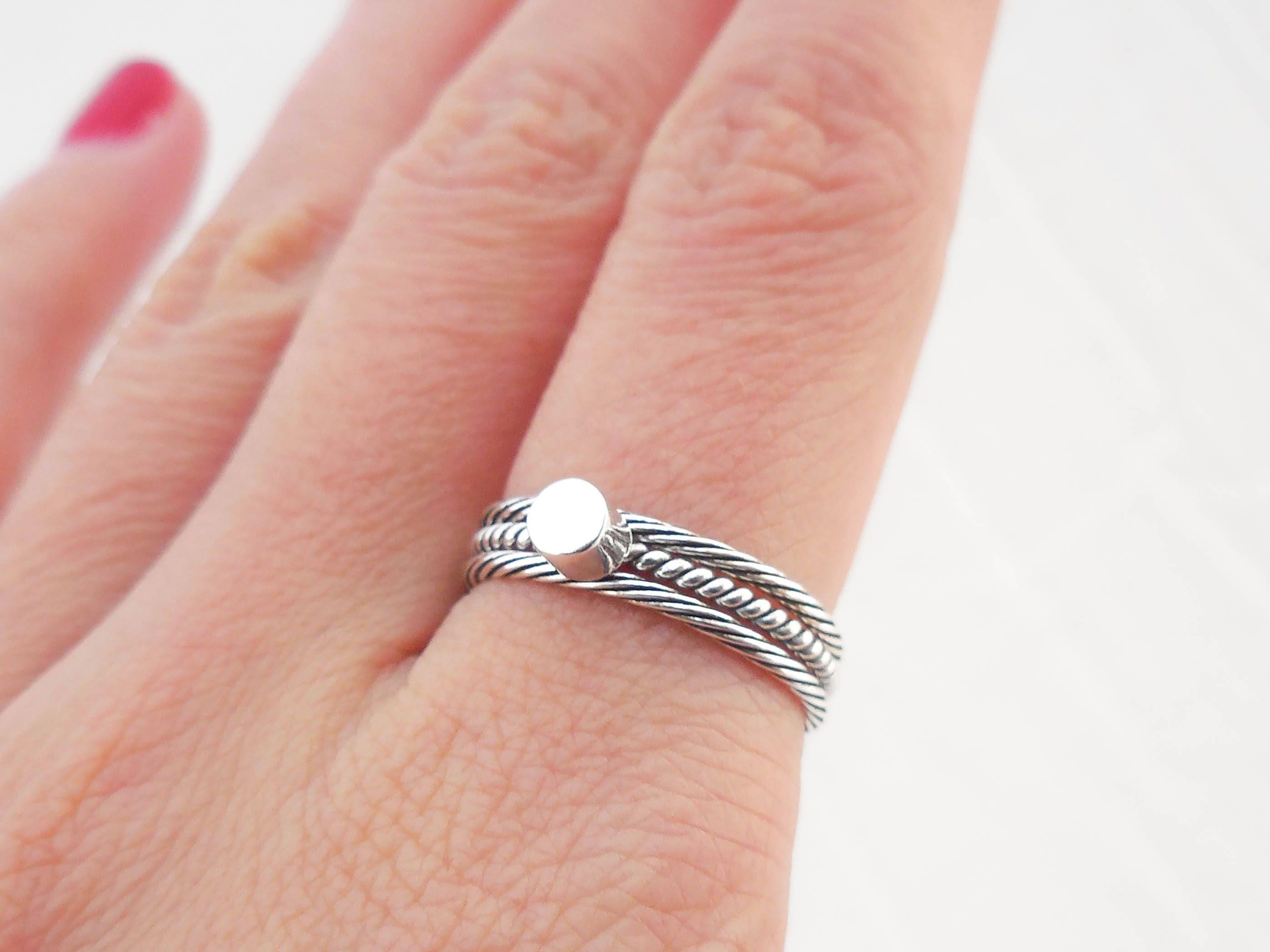 925 Sterling Silver Circle Stacking Ring Minimalist Ring