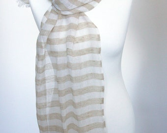 Scarf of pure airy linen light striped - white and sandy stripes   Ready to ship