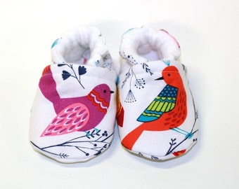 Baby bird shoes, baby shoes, crib shoes, baby booties, soft sole, early bird, baby moccs, kids shoes, baby girl, baby shoes girl