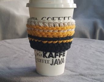 To go cup sleeve / hot cup jacket/cup holder// black, gold, and white// handmade// ready to ship// green gift// Buffs