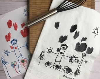 Handwritten Tea Towel / Flour Sack - your handwriting  or drawing transferred to a keepsake tea towel great gift