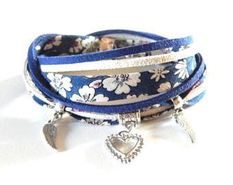 Liberty blue night and suede beige and blue flowers bracelet