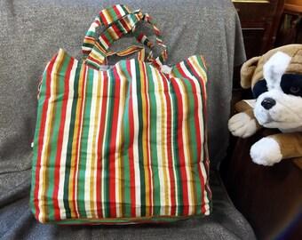 Cotton Shopping Tote Bag, Multicolor Stripes Print