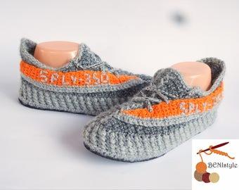 Adidas Yeezy Boost, Yeezy Sply 350, Crochet Yeezy Boost sply350, West Adidas Yeezy Boost, Knitted Adidas YeezY Boost, Gray Orange sply 350