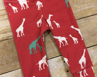 9m organic baby leggings - baby boy cuffed pants - baby gift - gender neutral baby - giraffe print pants - ready to ship