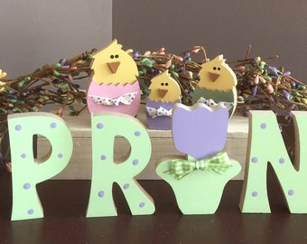 MINI,, Spring letters with chick & tulip