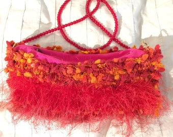 Red party purse, pink shoulder bag, orange yellow boho bag, womens handbag, small purse, red glass beads, golden keyrings clasps, gift purse
