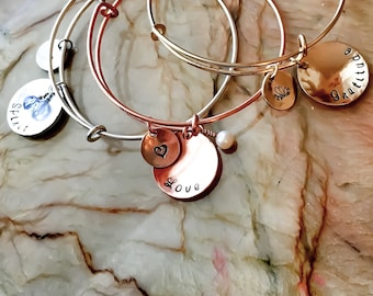Adjustable Expandable Bangle Bracelet - Four Different Metals To Choose - 1 Size Fits Most - Personalized Charm Style Bangle, CharmS