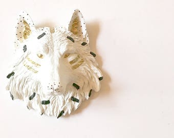 FunFetti Small WOLF WHiTe BLAcK GoLD Faux Taxidermy Animal Head wall mount White Wolf Head Kids Room Decor Office Wall Decor Wolf Wall art