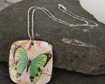 Green Butterfly Pendant Necklace \\ Silver Jewelry \\ Silver Chain