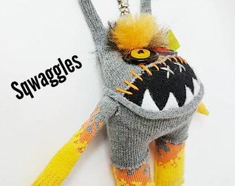 "Keychain / bag / backpack dangle 5 "" Sqwaggle monster"