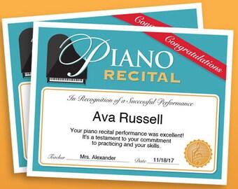 Piano Recital Certificate, Piano Award Printables, child certificate, Piano template certificates