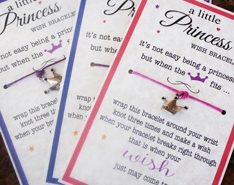 12 Little Princess Crown Wish Bracelets ... It's Not Easy Being a Princess..Great for Birthdays ... Party Favors and More!