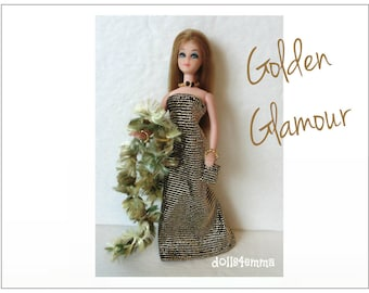 Dawn Doll Clothes - GOLDEN GLAMOUR Boa, Shimmer Gown, Hand-beaded Purse and Jewelry - Custom Fashion - by dolls4emma