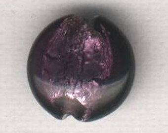 Vintage 20s Foil Beads Group 6 pcs. 12mm  LENTILS Purple